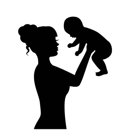 silhouette of a woman raising a small child in her arms Vektorové ilustrace