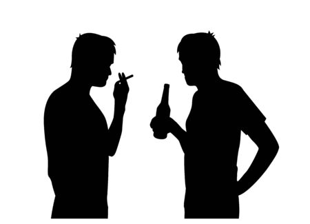 black isolated silhouettes of men smoking and drinking alcohol