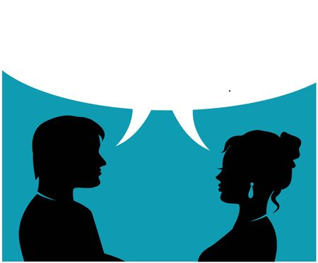 silhouettes of man and woman talk and dialogue bubble