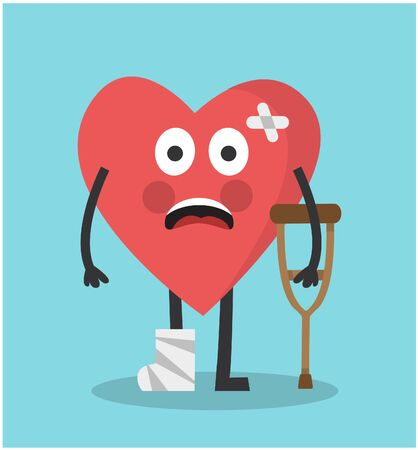 a cute red heart with a broken leg holds a crutch and is sad