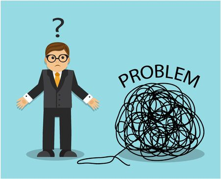businessman wants to unravel a tangle of problems but does not know where to start