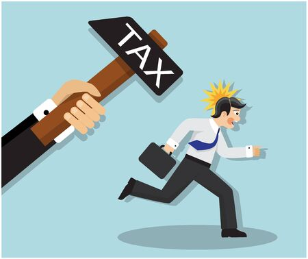 businessman scared and runs from a hammer that symbolizes tax and loss of money