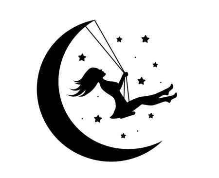beautiful cute girl rejoices on a swing and the moon and stars