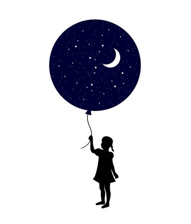 silhouette child holding a big ball with night and moon inside