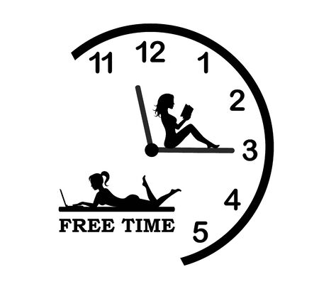 half round clock and female silhouettes are engaged in leisure-reading and lying with a laptop