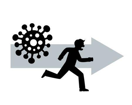 silhouette scared man flees from dangerous virus COVID-19