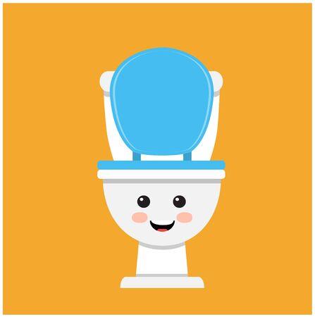 Cute toilet bowl smiling on orange background
