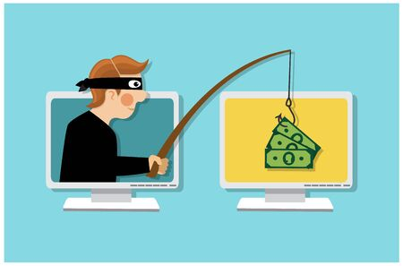 A masked thief holds a fishing rod and steals money over the Internet