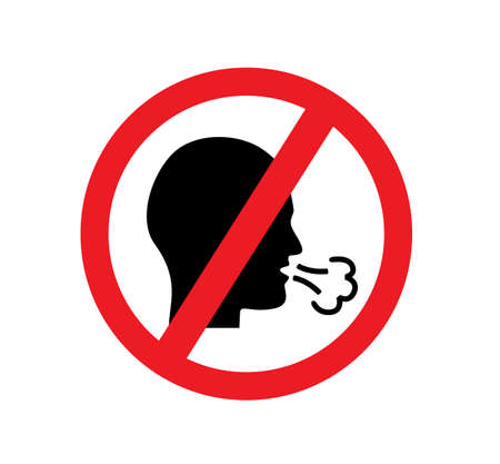 Red forbidden sign and silhouette of man coughs and spreads virus Vector Illustratie