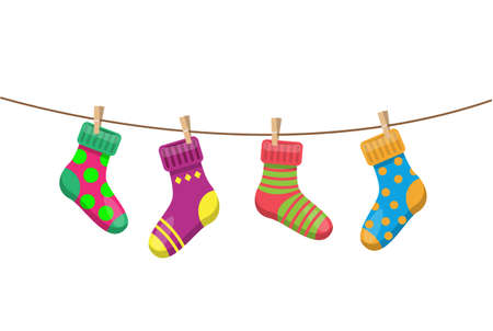 bright multicolored socks with clothespins hang on a clothesline Vecteurs