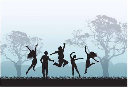 Happy silhouettes of people jumping in the meadow against the background of trees and mountains