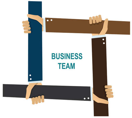 business team human hands hold each other on white background