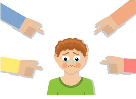 the child is crying and other children are bullying and pointing