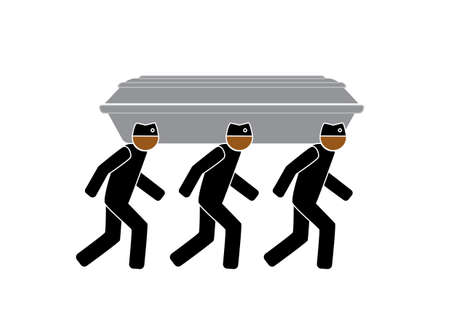 a simple drawing of three people in hats carrying a coffin and dancing Vektorové ilustrace
