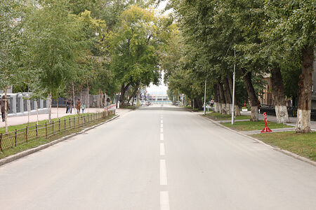 cordoned: A deserted city street in Novosibirsk cordoned off in the course of the holiday