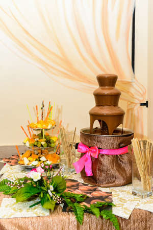 Chocolate fountain. Banquet table is machine for making chocolate Fondue of dark chocolate and fresh fruit. Foto de archivo