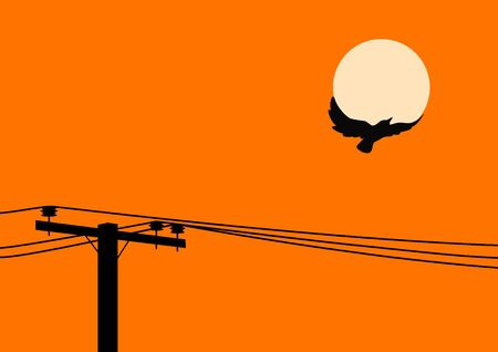 utility pole: Bird flying off a utility pole Illustration