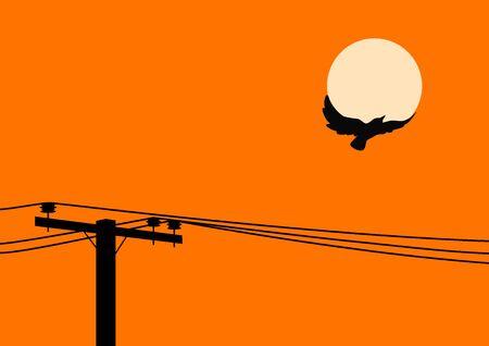 utility pole: Bird flying off a utility pole Illustration