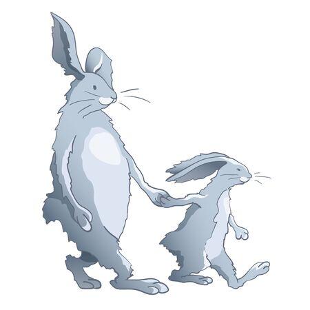 cartoon dad: Rabbits family - walking cartoon dad and son