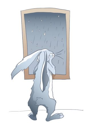 Rabbit by the window in rainy weather Vector