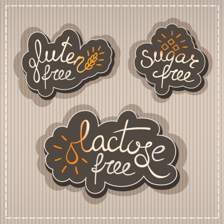 food allergy: Handwritten Gluten, lactose, sugar free labels