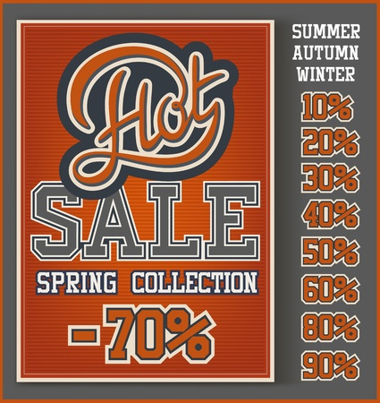 clearance sale: Vintage Hot Sale collection with handwritten header Illustration