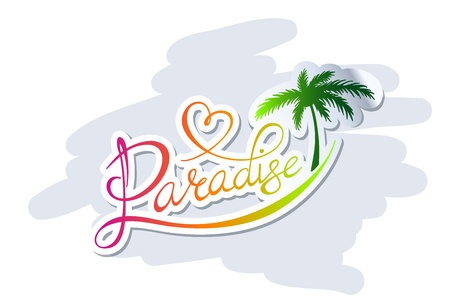 Handwritten calligraphic Paradise logo with palm silhouette Vettoriali
