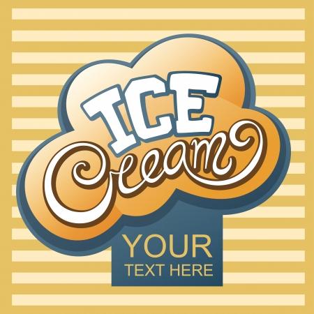 Ice cream handwritten calligraphic label