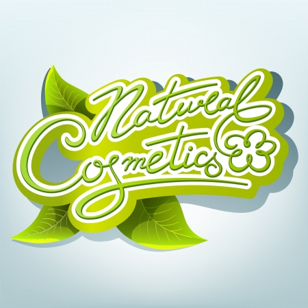 natural cosmetics: Natural cosmetics handwritten calligraphic label