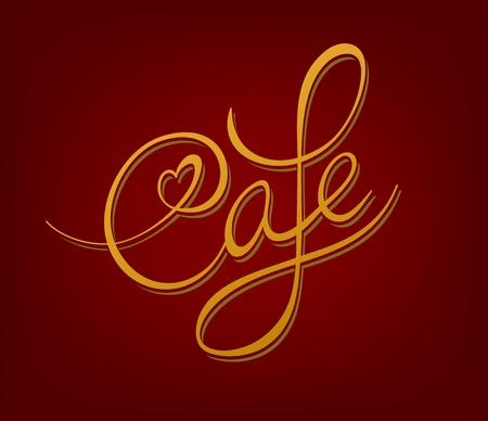 Cafe handwritten calligraphic vintage signboard