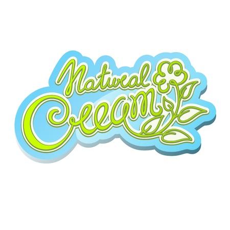Natural cream handwritten calligraphic label Vector