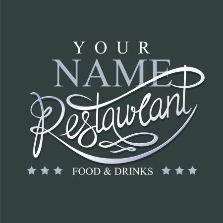 Calligraphic handwritten restaurant signboard Vettoriali