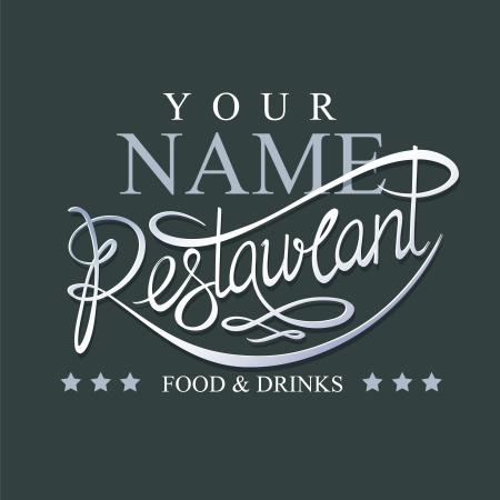 Calligraphic handwritten restaurant signboard Çizim