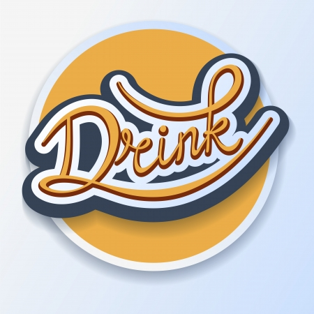 natural juices: Drink handwritten calligraphic template label