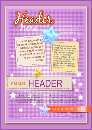 a4: Cartoon plaid flayer or cover template pink Illustration