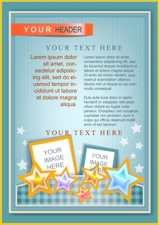flayer: Cartoon flayer or cover template blue with bright stars