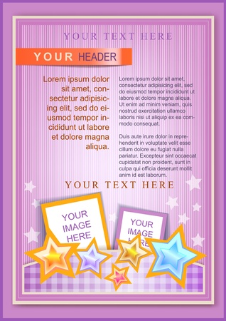 Cartoon flayer or cover template pink with bright stars Vector