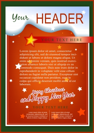 a4: Christmas greeting flyer or card template Illustration