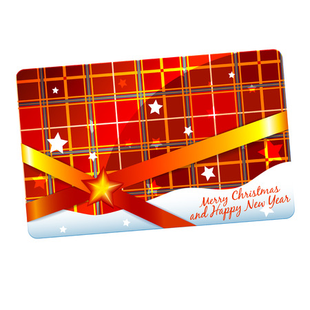 chequered ribbon: Christmas gift discount card or flyer template plaid Illustration