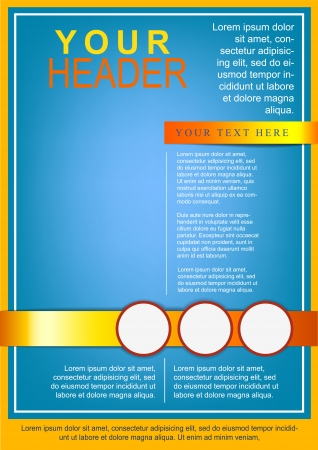 flayer: Bright flayer or cover template blue and yellow Illustration