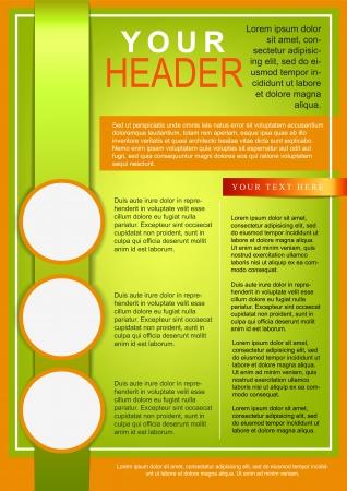 a4 borders: Flyer o la cubierta de la plantilla verde y naranja Vectores