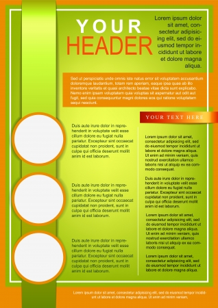 Flyer or cover template green and orange Vector