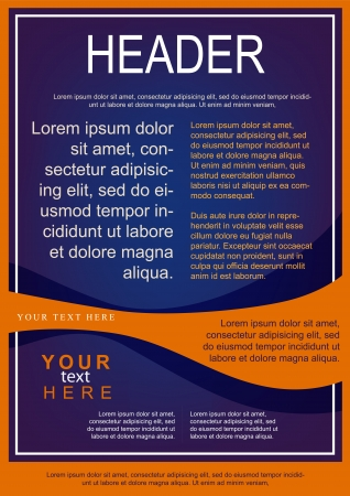 flayer: Flayer template blue with orange wave