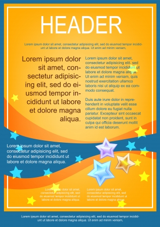 Flayer template yellow with blue wave
