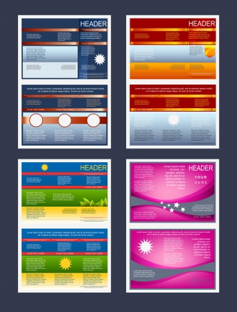 Collection of tri-fold flyers or cover templates Ilustracja