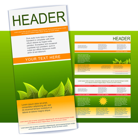 Tri-fold green and orange flyer or brochure template Illustration