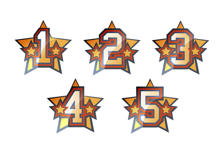 Shiny stars numbers set - 1, 2, 3, 4, 5 Vector