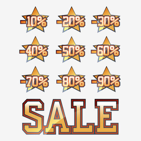Sale elements collection with stars Vector