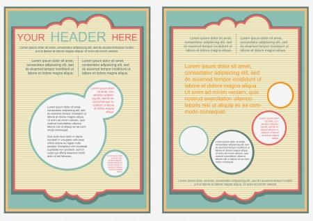 a4 borders: Flayer, brochure o copertura modello di stile retr� vibrazione Vettoriali
