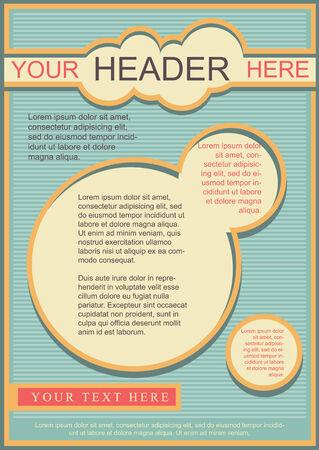 a4 borders: Flayer, folleto o la cubierta de plantilla de estilo retro